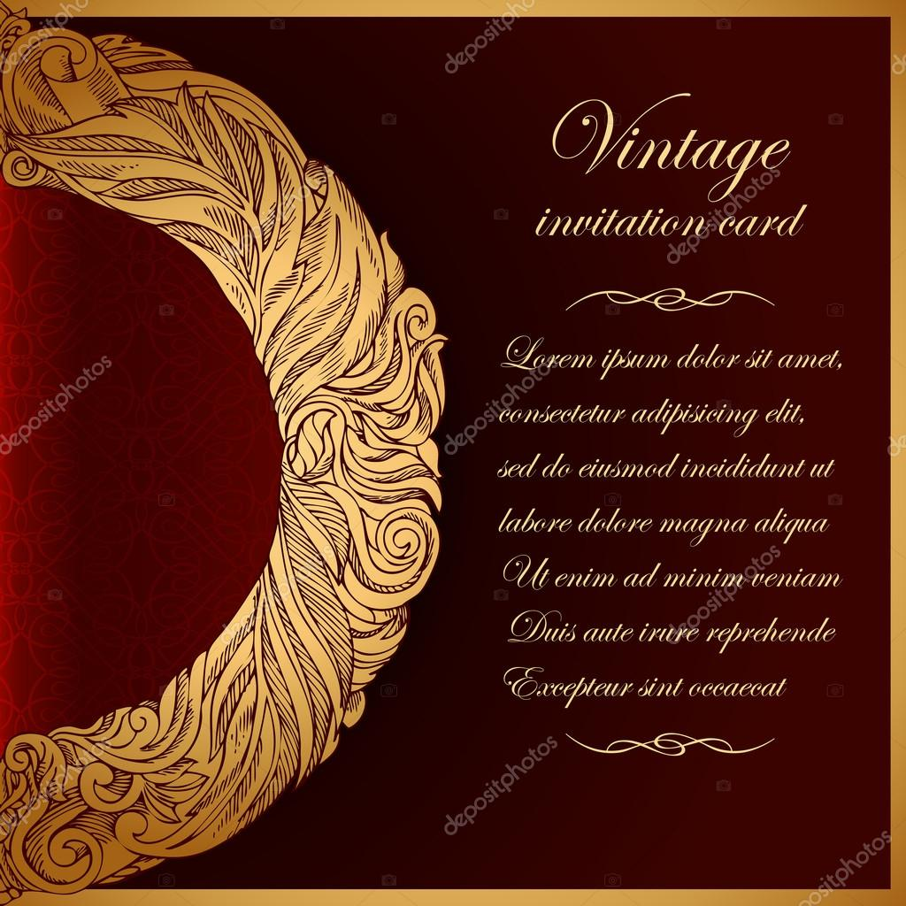 Vintage Background Antique Greeting Invitation Card With