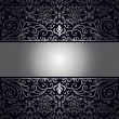 Vintage background, antique, victorian silver ornament, baroque frame — Stock Vector