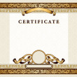 Vintage certificate with gold, luxury, ornamental frames — Stock Vector