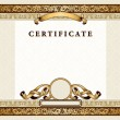Vintage certificate with gold, luxury, ornamental frames - Stock Vector