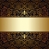 Vintage background, antique, victorian gold ornament, baroque frame — Stock Vector