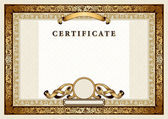 Vintage certificate with gold, luxury, ornamental frames — Stockvektor
