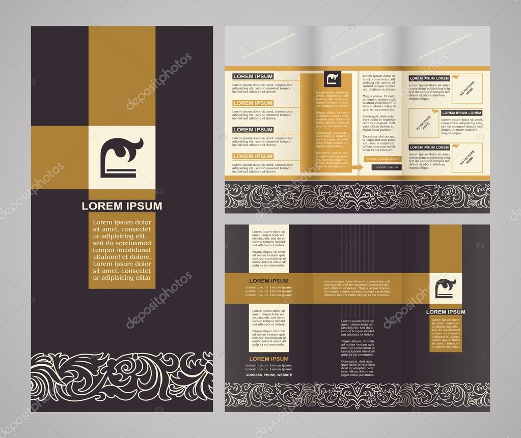Vintage style brochure template design with modern ...
