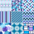 Retro backgrounds set, blue and violet seamless patterns — Stock Vector