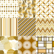 Retro backgrounds set, cream and beige, seamless patterns — Stock Vector