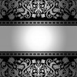 Royalty-Free Stock Vectorafbeeldingen: Vintage black background, floral antique card, victorian silver