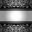 Royalty-Free Stock Vectorielle: Vintage black background, floral antique card, victorian silver