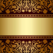 Vintage background, floral antique card, victorian gold ornament — Stock Vector #24090377