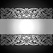 Vintage black background, antique, victorian silver ornament, baroque frame. — Stock Vector