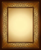 Vintage background, antique ornamental frame, victorian gold ornament — Stockvektor