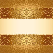 Vintage background, antique, victorian golden ornament, baroque frame — Stock Vector