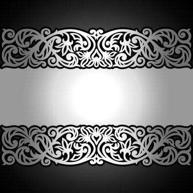 Vintage black background, antique, victorian silver ornament, baroque frame.