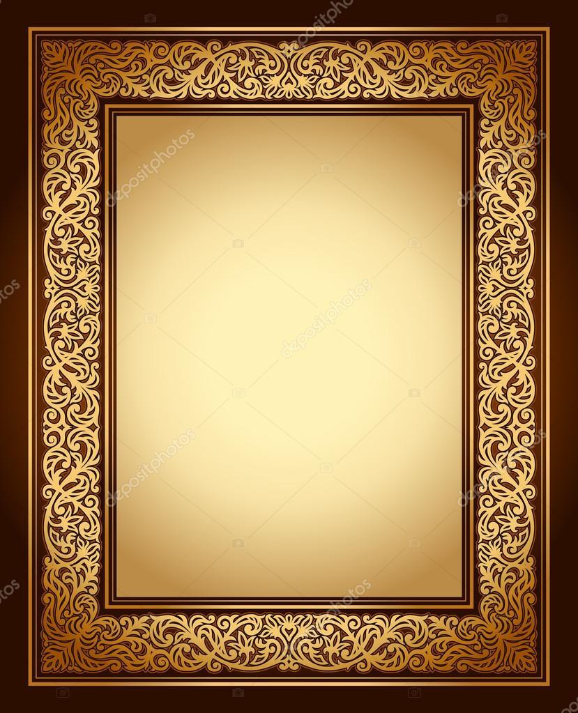 ... antique ornamental frame, victorian gold ornament - Stock Illustration