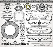 Vintage design elements, ornaments and dividers and elegant page background decorations — Stock Vector