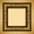 Vintage gold frame, antique background, baroque, victorian ornament — Stock Vector