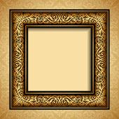 Vintage gold frame, antique background, baroque, victorian ornament — Stock Vector