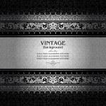 Vintage background, antique, victorian silver ornament, baroque frame — Stock Vector