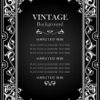 Vintage black background, antique white frame, victorian ornament — Stock Vector