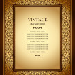 Vintage background, antique ornamental frame, victorian gold ornament — Stock Vector