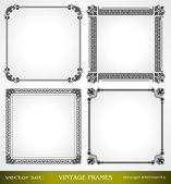 Vintage frames set, calligraphic victorian ornamental photo frames — Stock Vector
