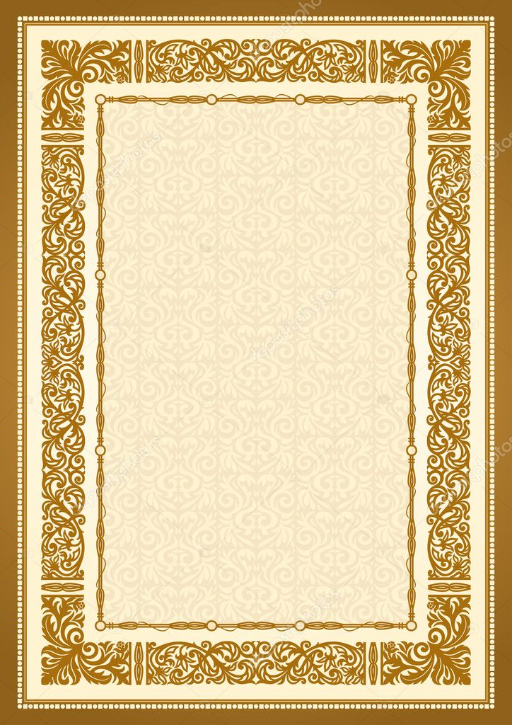 Vintage gold background, antique style frame, victorian ornament ...