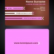 Business Card creative design, elegant style print, front and back samples, pink templates in bright colors — Stock Vector
