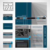 Brochure and Business cards design templates collection, retro style with modern elements, pages layouts in classic colors — Stockvektor