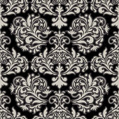 Damask beautiful background with rich, old style, luxury ornamentation, black fashioned seamless pattern — Stock Vector