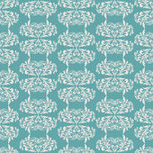 Damask beautiful background with rich, old style, luxury ornamentation, turquoise  fashioned seamless pattern — Stock Vector