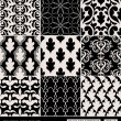 Damask beautiful backgrounds set, old style, luxury ornamentation, fashioned seamless patterns — Stock Vector #48227643