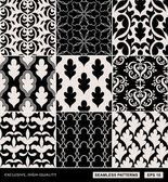 Damask beautiful backgrounds set, old style, luxury ornamentation, fashioned seamless patterns — Stock Vector