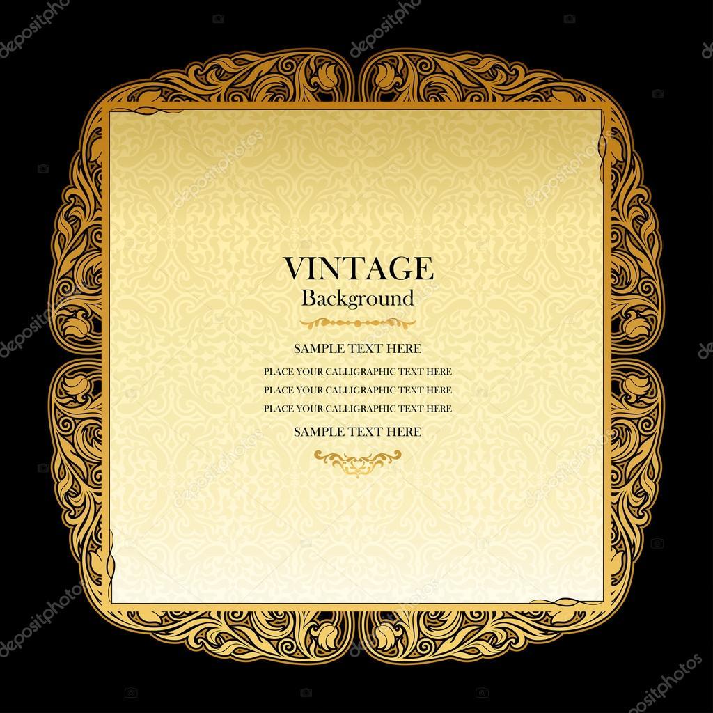 Vintage background, elegant wedding invitation card ...