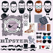 Hipster style design, artistic isolated elements, hipsters faces, hairstyles and beards templates — Stock Vector