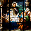 Nativity Scene. Stained glass window in the German Church (St. G — Foto de Stock