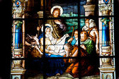 Nativity Scene. Stained glass window in the German Church (St. G — Stock Photo