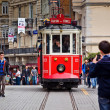Stock Photo: Red tram on Taksim Istiklal Street