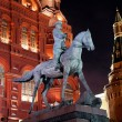Night view of Marshal Zhukov monument — Stock Photo #40519987