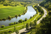 Areal view on Neckar river in Germany — Stock Photo