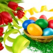 Easter decoration on pure white - Stock Photo