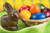 Chocolate bunny and Easter eggs — Stock Photo