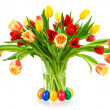 Gorgeous bouquet of tulips in a vase — Stock Photo