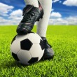 Soccer player's feet in casual pose — Stock Photo #21730637