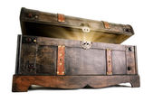 Treasure chest reveals a luminous secret — Stock Photo