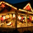Illuminated Christmas fair kiosk — Stock Photo