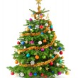 Lush christmas tree with colorful ornaments — Stock Photo