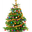 Lush christmas tree with colorful ornaments — Foto de Stock