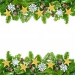 Decorated fir twigs as a Christmas frame — Stock Photo