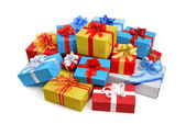Colorful pile of gift boxes — Stock Photo
