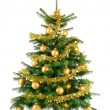 Lush Christmas tree with gold baubles — Stock Photo