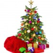 Colorful Christmas tree with Santa's bag and gifts — Стоковая фотография